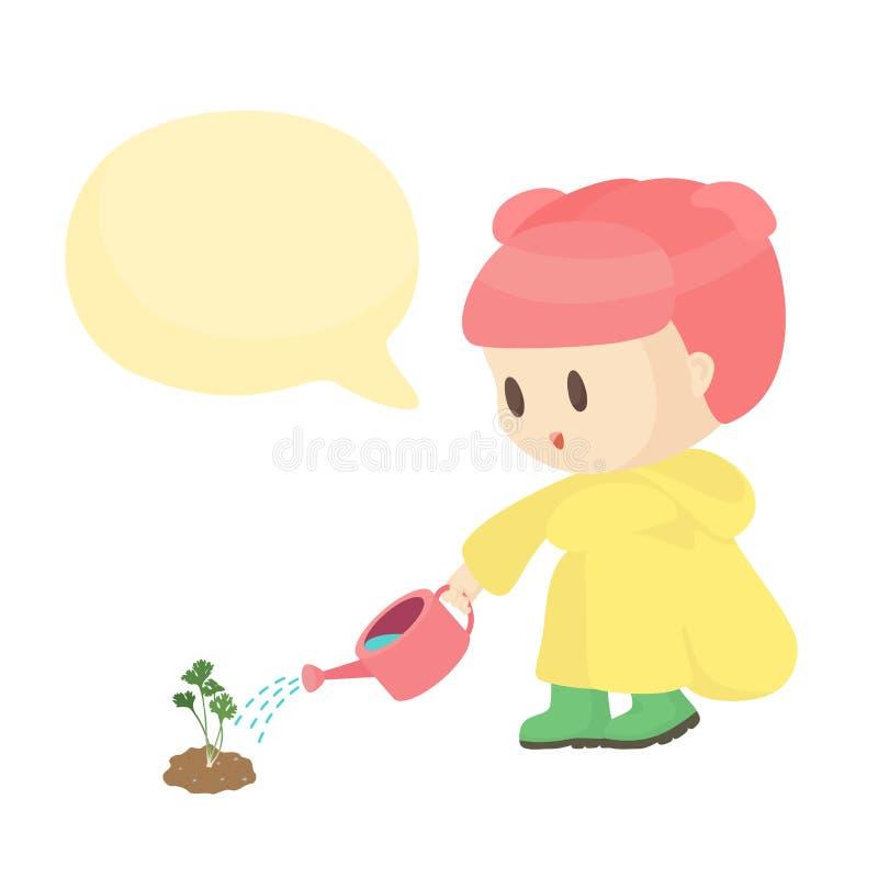 Plantas y charla de riego básicas de RGBGirls al mensaje de la burbuja del espacio en blanco del árbol ilustración del vector