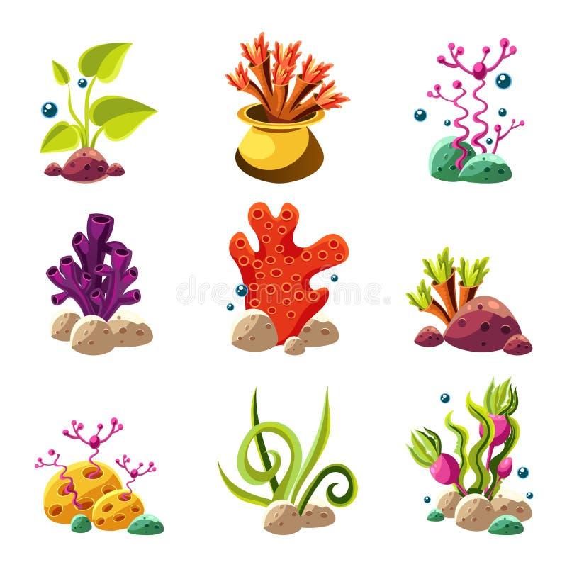 Plantas y criaturas subacuáticas de la historieta ilustración del vector