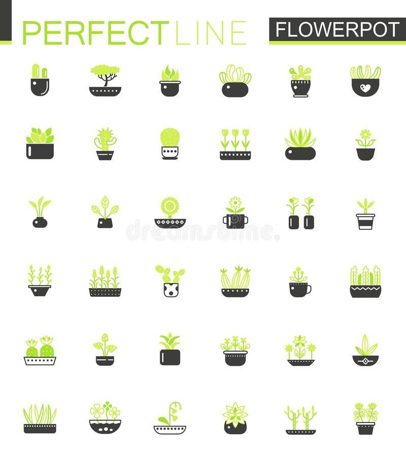 Plantas y flores clásicas de la casa del color del verde doble del negro en los iconos de las macetas fijados ilustración del vector