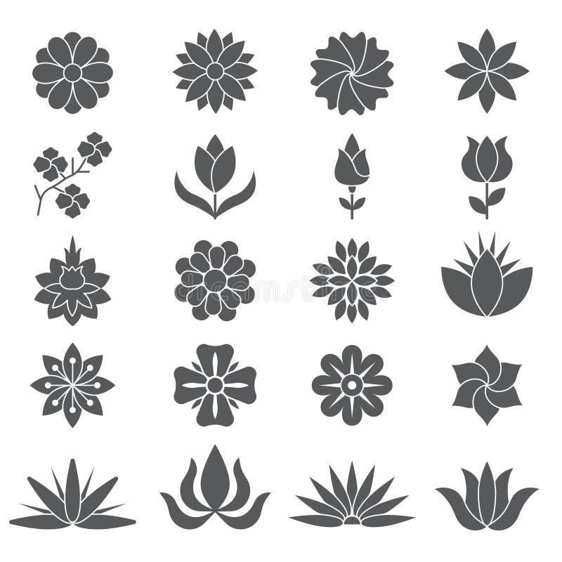 Plantas y flores estilizadas para diversos proyectos de diseño ilustración del vector
