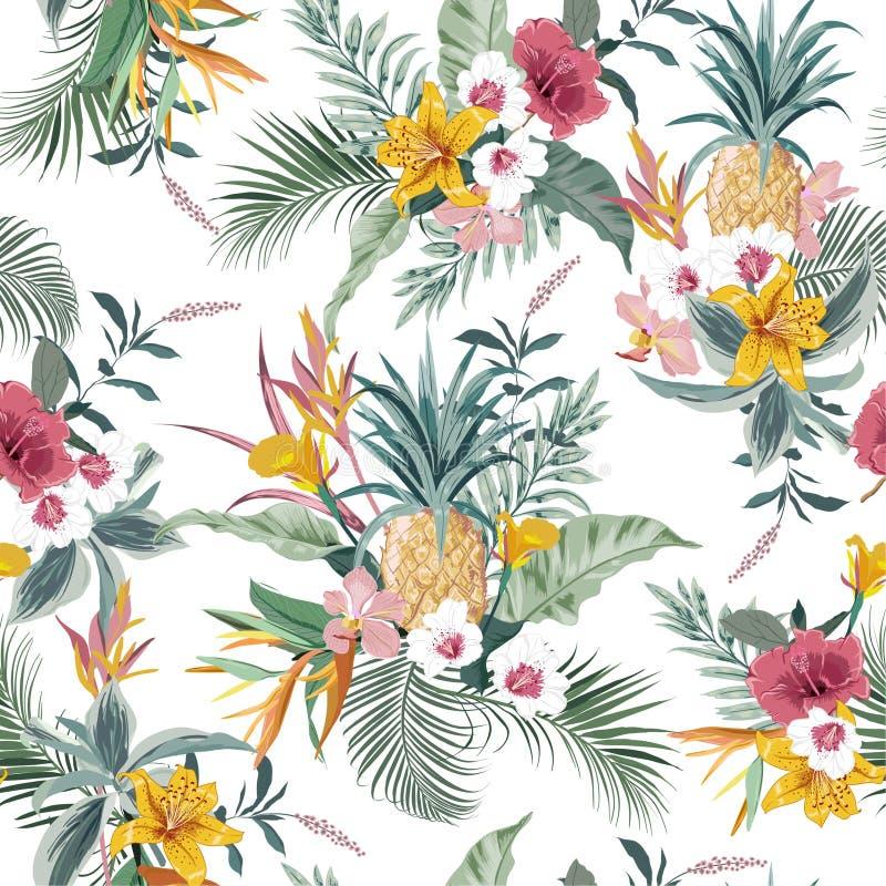 Plantas y follaje exóticos coloridos tropicales, hoja del monstera, palma, frutas del verano, ave del paraíso, lirio del modelo i ilustración del vector