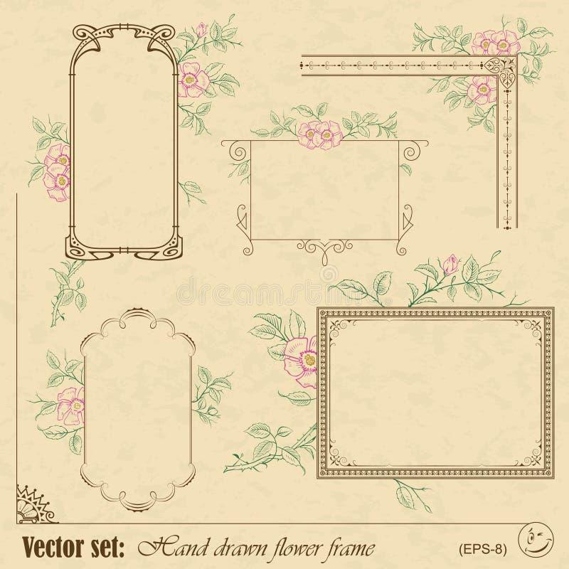 Plantas y marco y elementos de las flores ilustración del vector