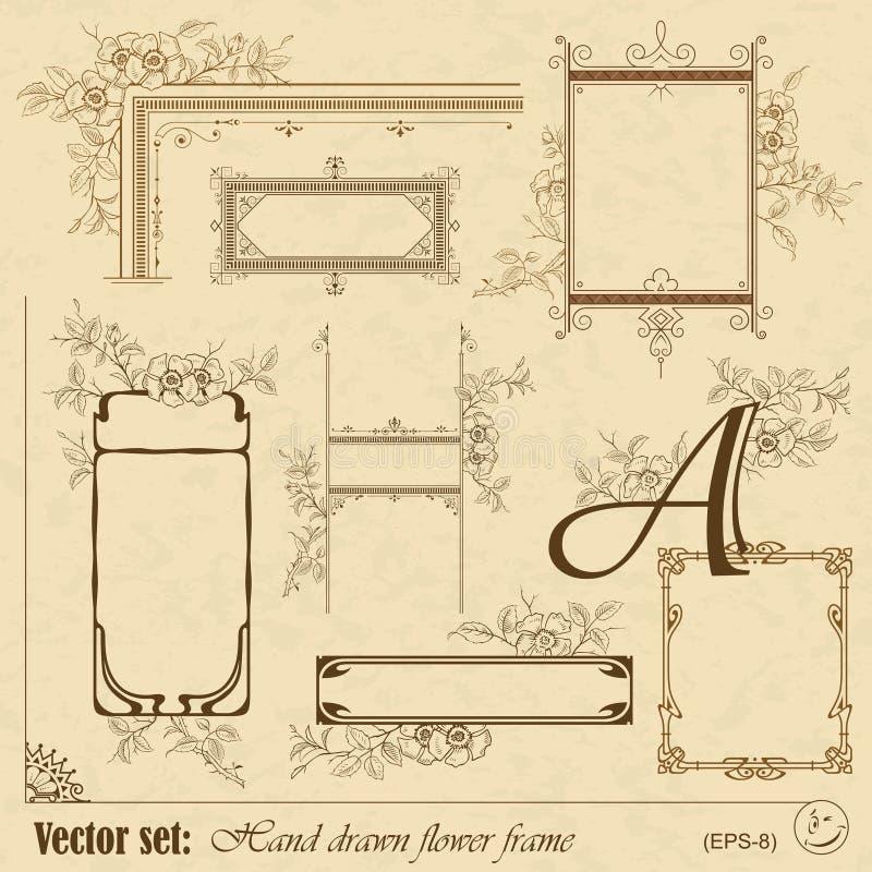 Plantas y marco y elementos de las flores libre illustration