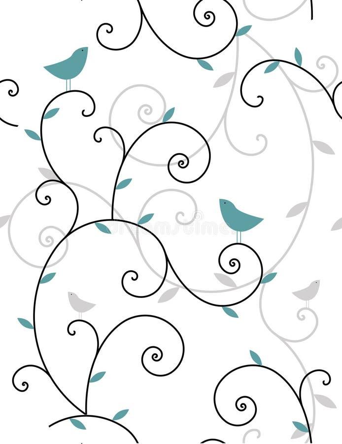 Plantas y pájaros ilustración del vector