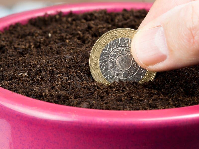 Plantation d'une pièce de monnaie représentant l'investissement photographie stock libre de droits