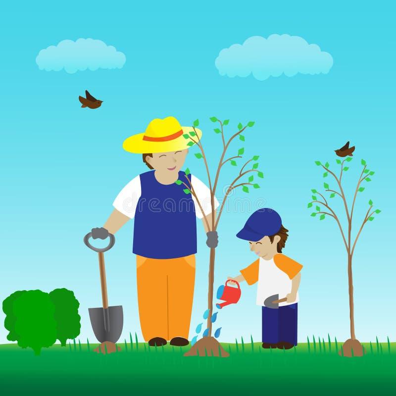 Plantation de l'arbre avec la famille dans le jardin illustration libre de droits