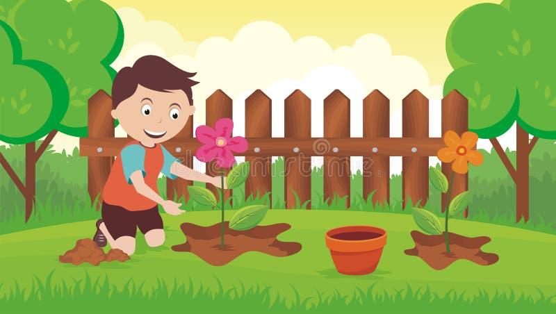 Plantation de la fleur dans le jardin illustration de vecteur