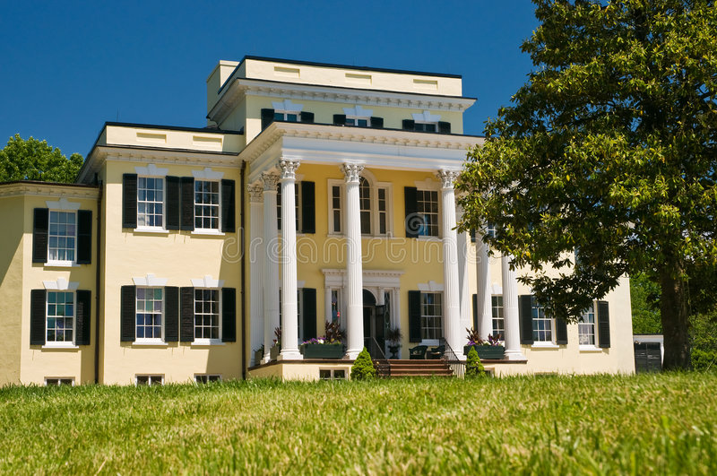 Plantation mansion and porch stock photography