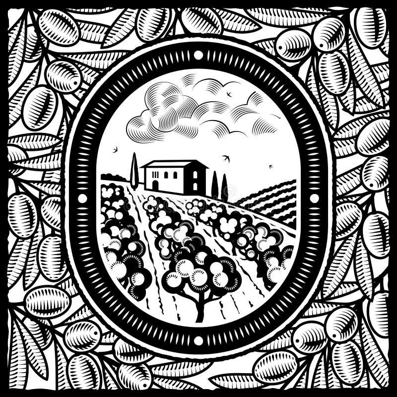 Plantation olive noire et blanche illustration libre de droits