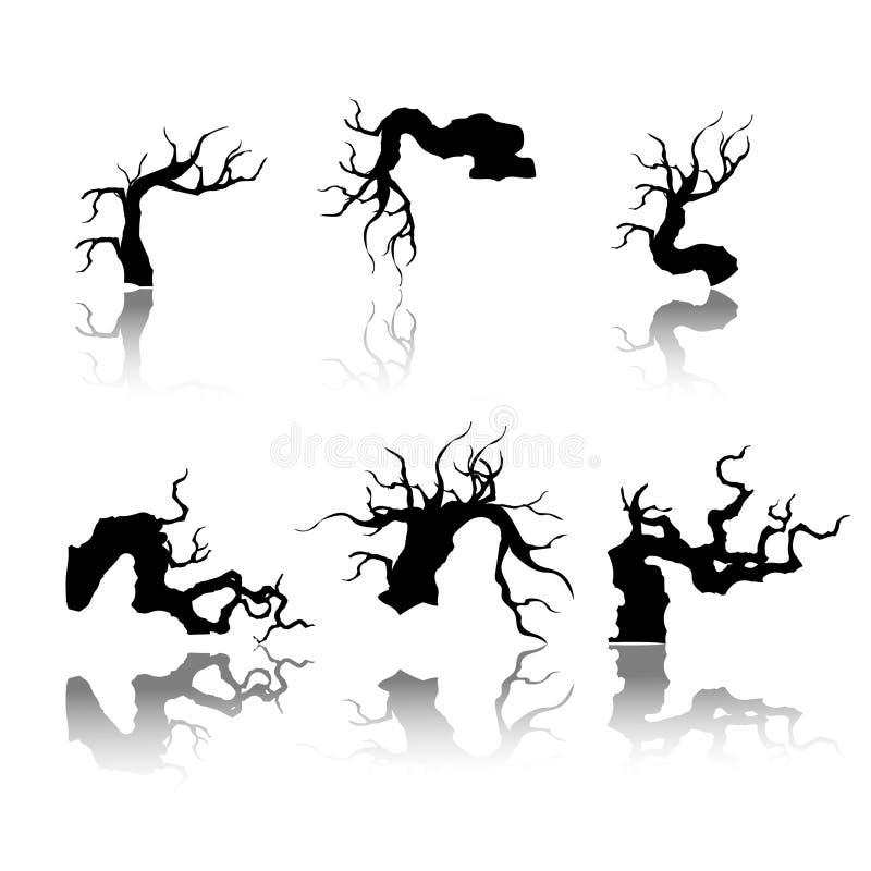 Plante ícones da silhueta, árvore e silhueta dos ramos, ilustração detalhada do vetor ilustração stock