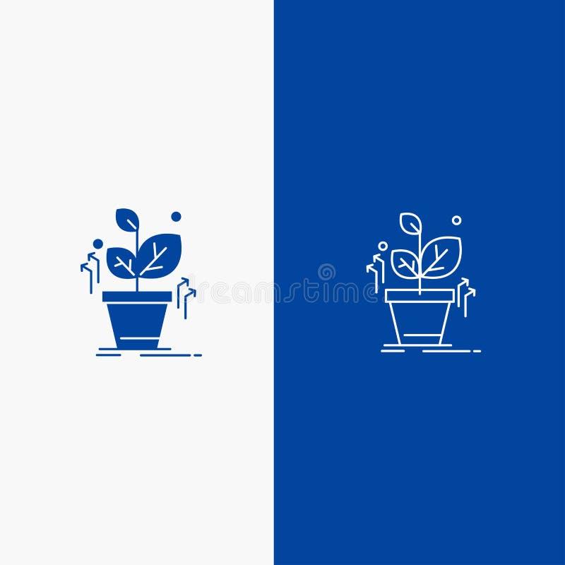 Plante, bandera azul crecen, crecido, del éxito de la línea y del Glyph del icono sólido de bandera del icono sólido azul de la l ilustración del vector