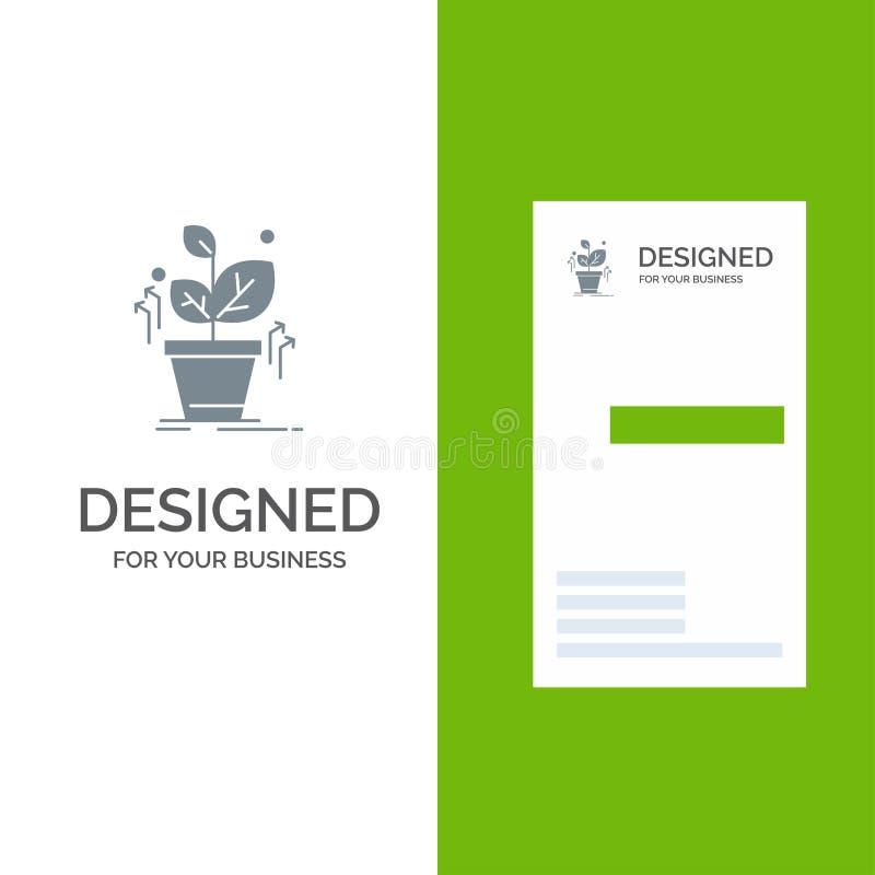 Plante, crezca, crecido, éxito Grey Logo Design y plantilla de la tarjeta de visita libre illustration