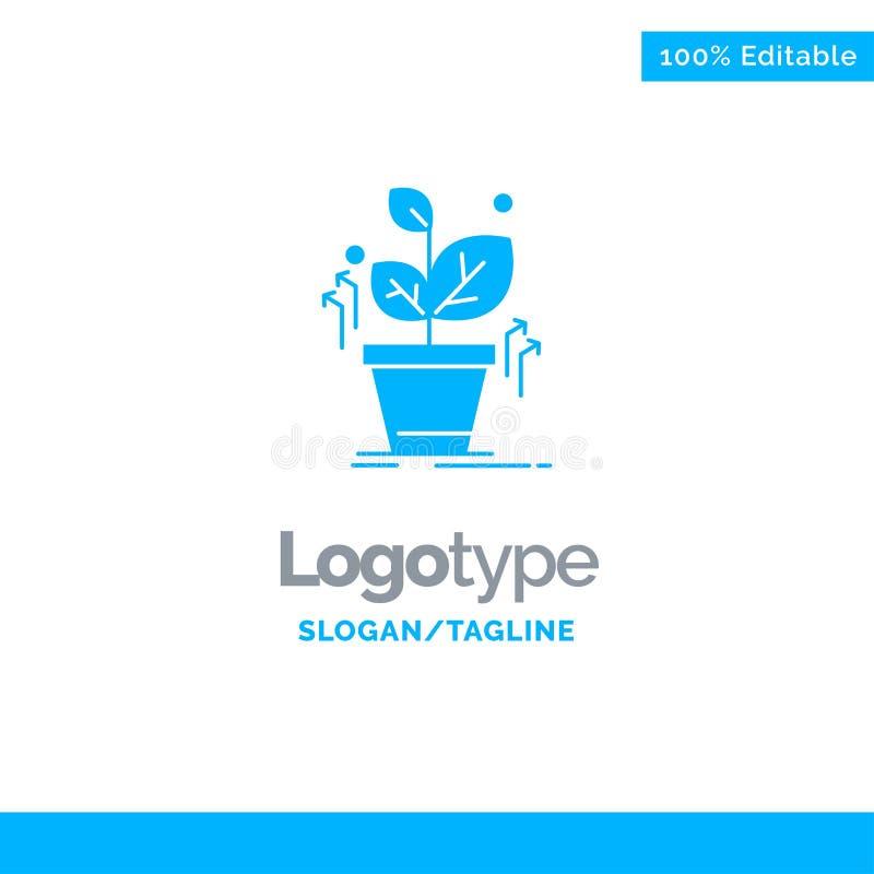 Plante, crezca, crecido, éxito Logo Template sólido azul Lugar para el Tagline ilustración del vector