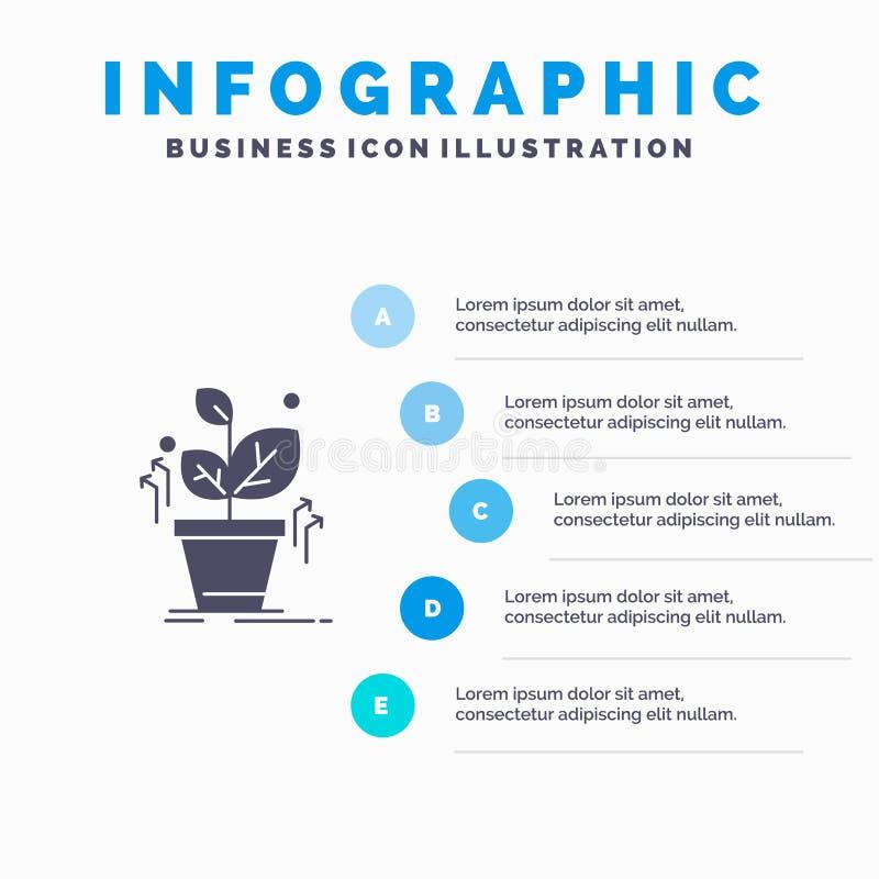 Plante, crezca, crecido, fondo sólido de la presentación de los pasos de Infographics 5 del icono del éxito stock de ilustración