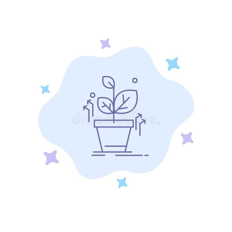 Plante, crezca, crecido, icono azul del éxito en fondo abstracto de la nube ilustración del vector
