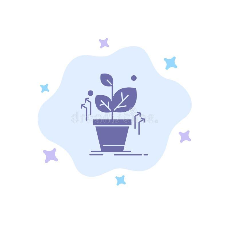 Plante, crezca, crecido, icono azul del éxito en fondo abstracto de la nube stock de ilustración