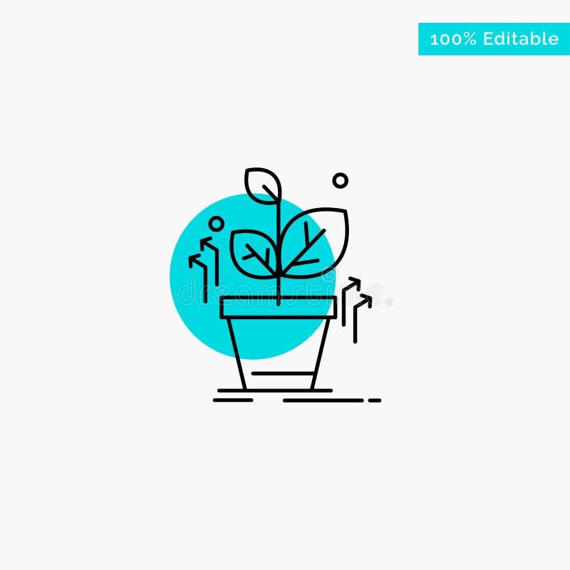 Plante, crezca, crecido, icono del vector del punto del círculo del punto culminante de la turquesa del éxito stock de ilustración