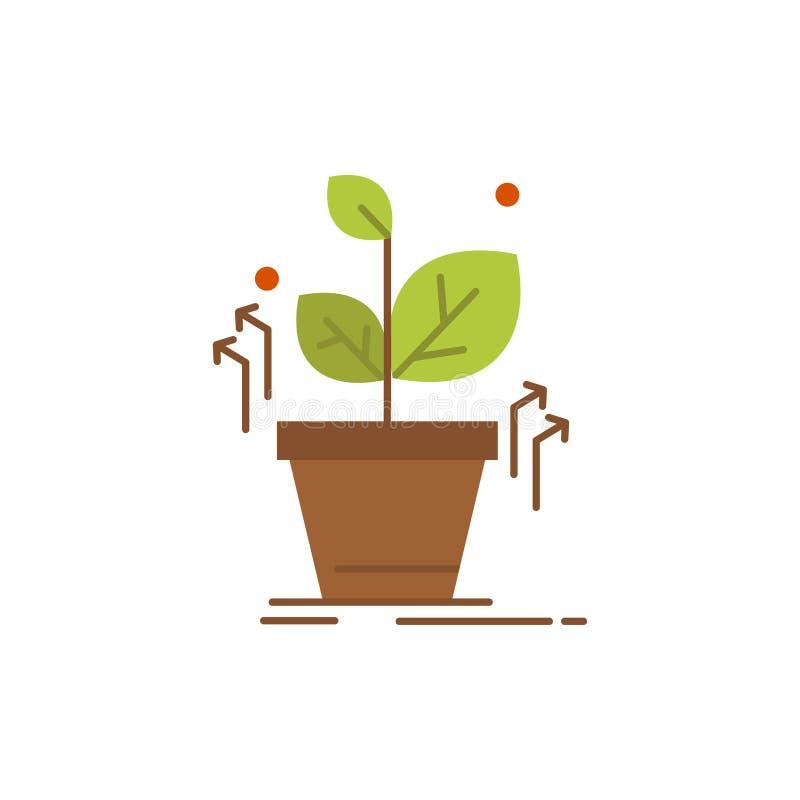 Plante, crezca, crecido, icono plano del color del éxito Plantilla de la bandera del icono del vector stock de ilustración