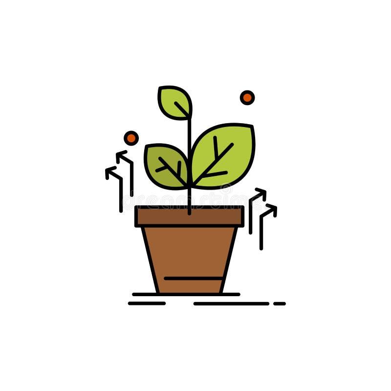 Plante, crezca, crecido, icono plano del color del éxito Plantilla de la bandera del icono del vector ilustración del vector