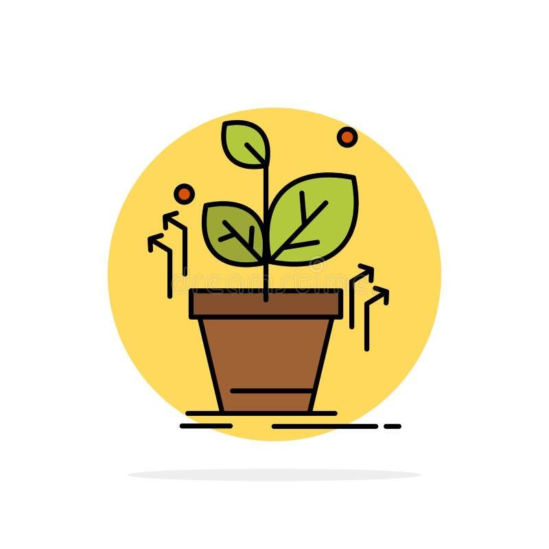 Plante, crezca, crecido, icono plano del color de fondo abstracto del círculo del éxito libre illustration