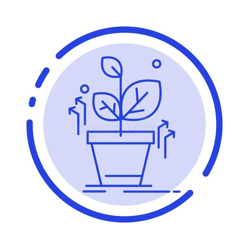 Plante, crezca, crecido, línea de puntos azul línea icono del éxito stock de ilustración