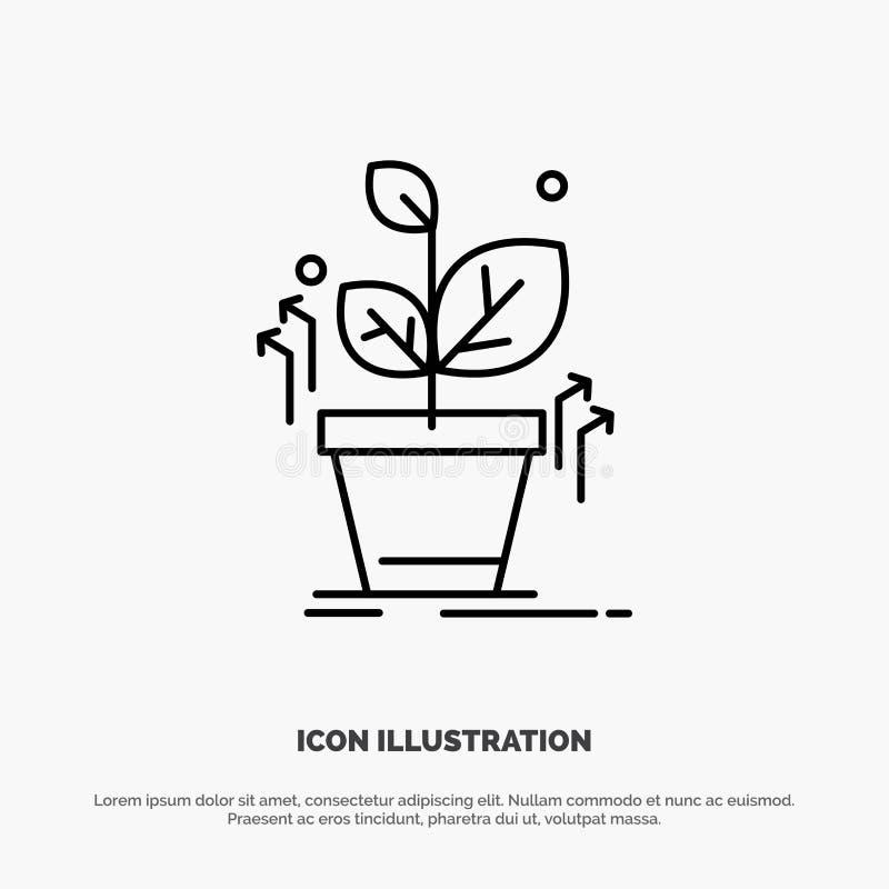 Plante, crezca, crecido, línea vector del éxito del icono stock de ilustración