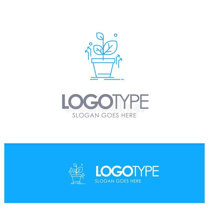 Plante, crezca, crecido, logotipo azul del esquema del éxito con el lugar para el tagline ilustración del vector