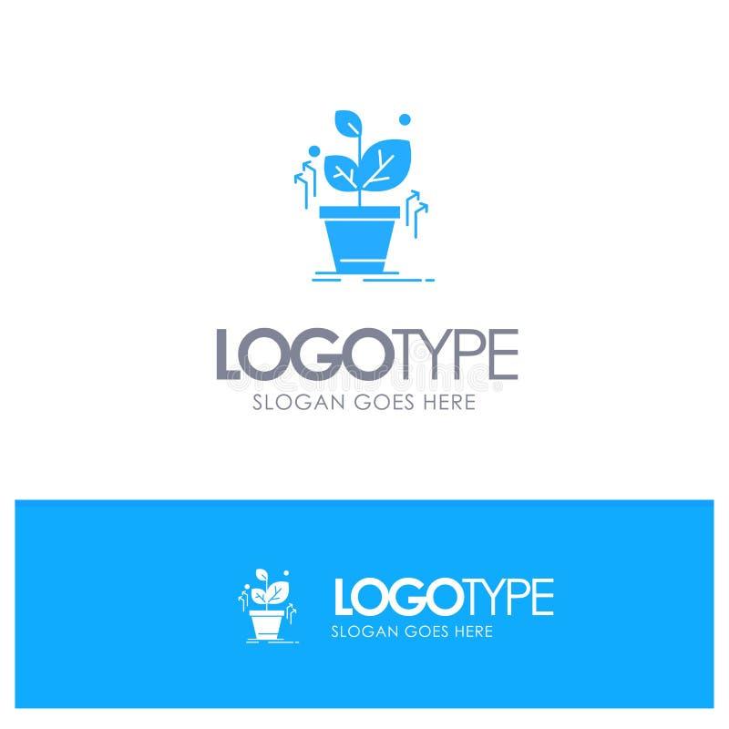 Plante, crezca, crecido, logotipo sólido azul del éxito con el lugar para el tagline libre illustration