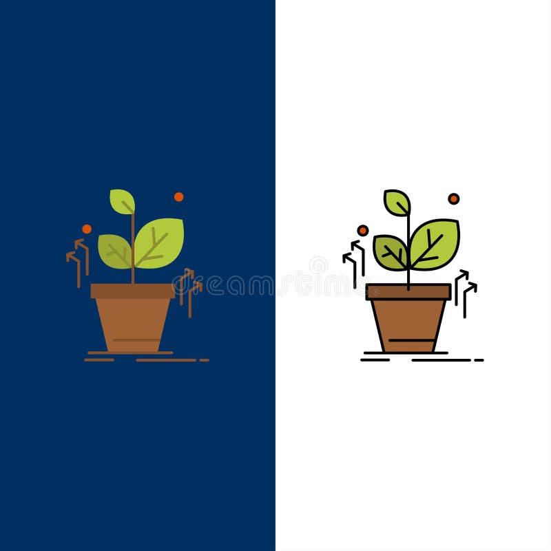 Plante, crezca, crecido, los iconos del éxito El plano y la línea icono llenado fijaron el fondo azul del vector libre illustration