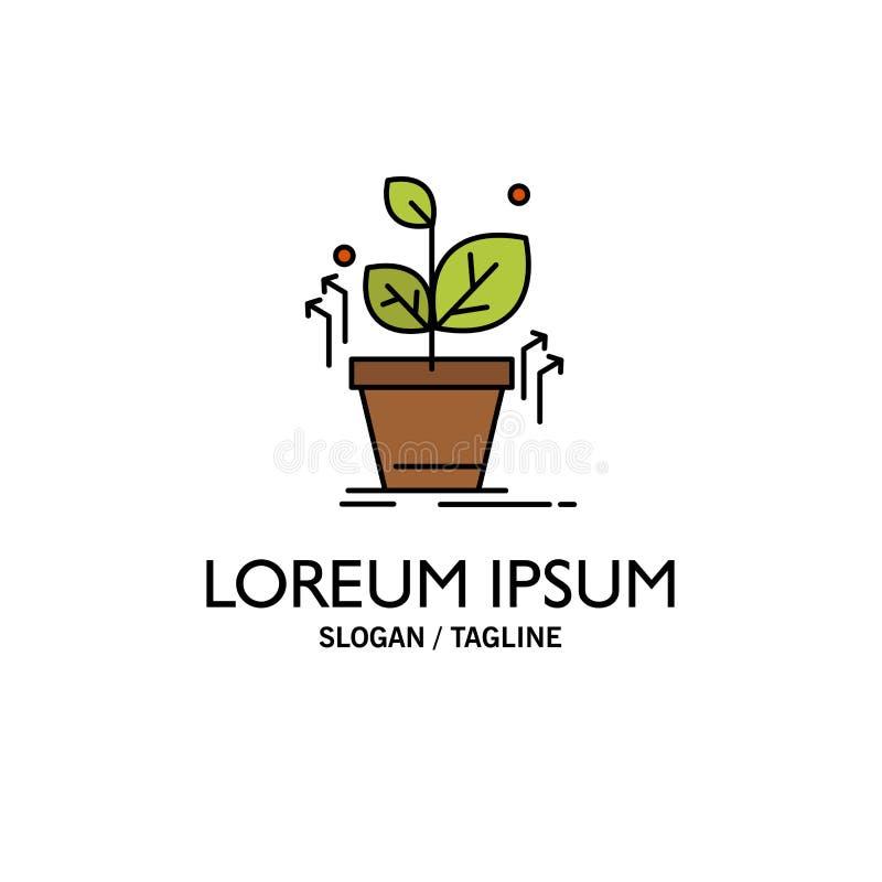 Plante, crezca, crecido, negocio Logo Template del éxito color plano ilustración del vector