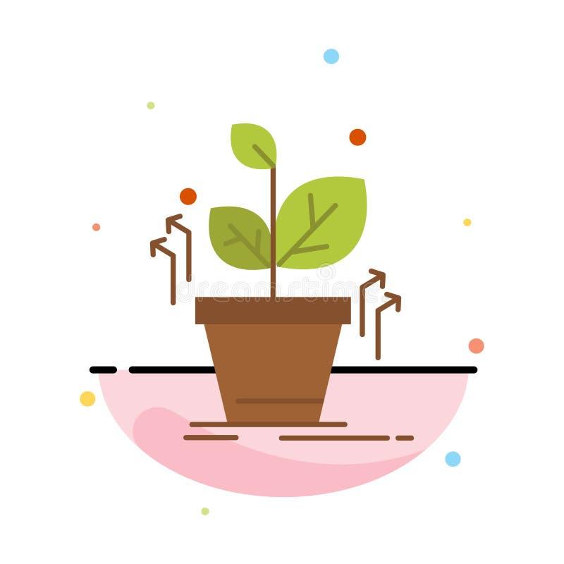 Plante, crezca, crecido, plantilla plana del icono del color del extracto del éxito libre illustration