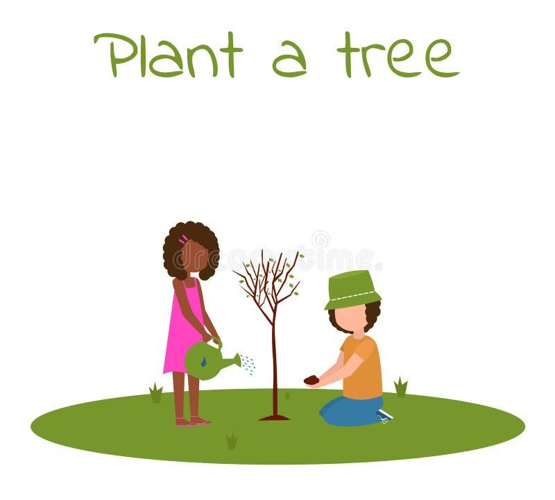 Plante crianças afro de uma árvore ilustração do vetor
