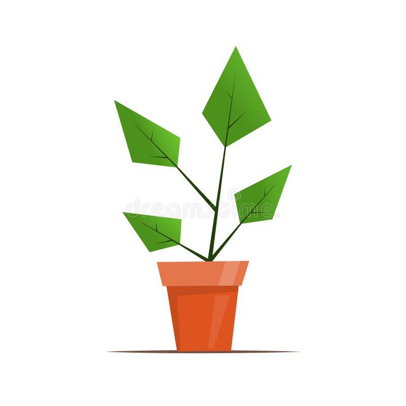 Plante d'intérieur dans un pot Illustration graphique simple mignonne de vecteur dans le style plat pour la conception de fleuris illustration de vecteur