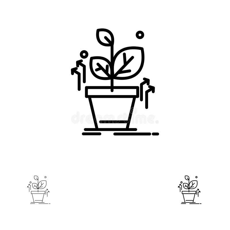 Plante, línea negra intrépida y fina sistema crecen, crecido, del éxito del icono ilustración del vector
