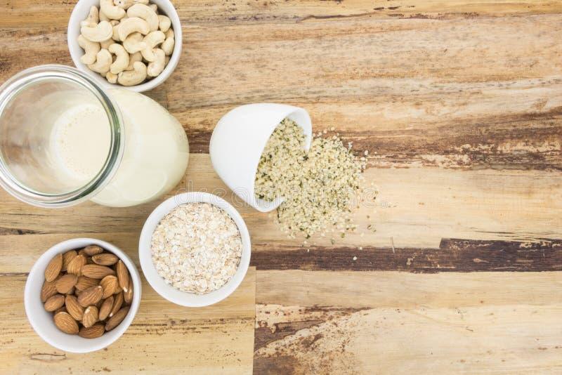 Plante la leche basada y y los cuencos con los ingredientes imagenes de archivo