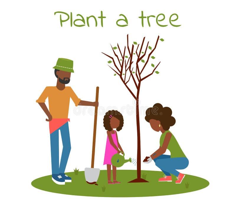 Plante uma família feliz do afro da árvore ilustração do vetor