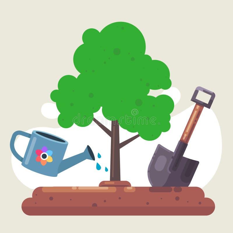 Plante un ?rbol en naturaleza pala y riego ilustración del vector