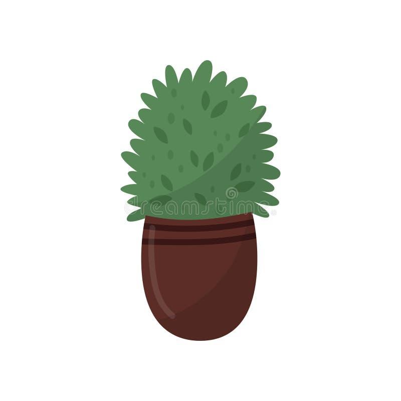 Plante verte dans le pot en céramique brun Plante d'intérieur décorative mignonne Élément plat de vecteur pour la bannière du fle illustration libre de droits
