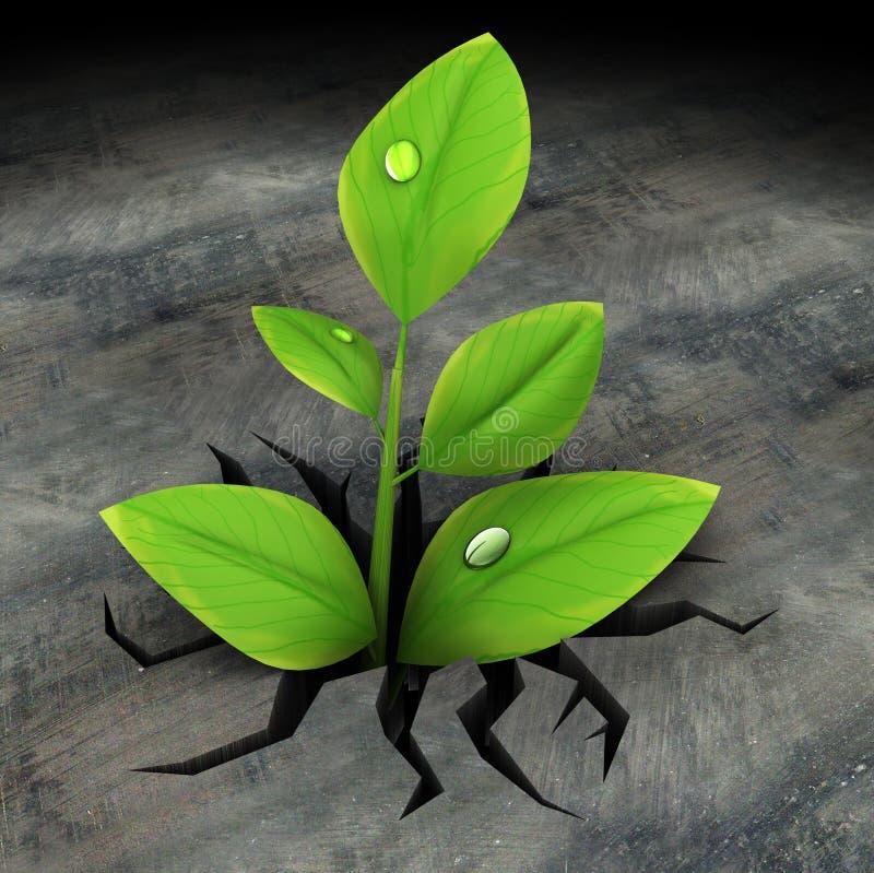 Plante verte en asphalte illustration libre de droits