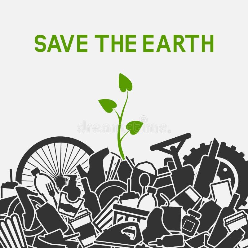 Plante verte s'élevant par des déchets Sauf le concept de plan?te Déchets de la planète avec les déchets humains illustration libre de droits