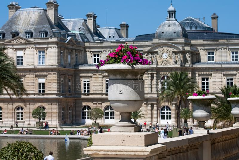Planted flowerpot in the Jardin du Luxembourg in Paris stock photos