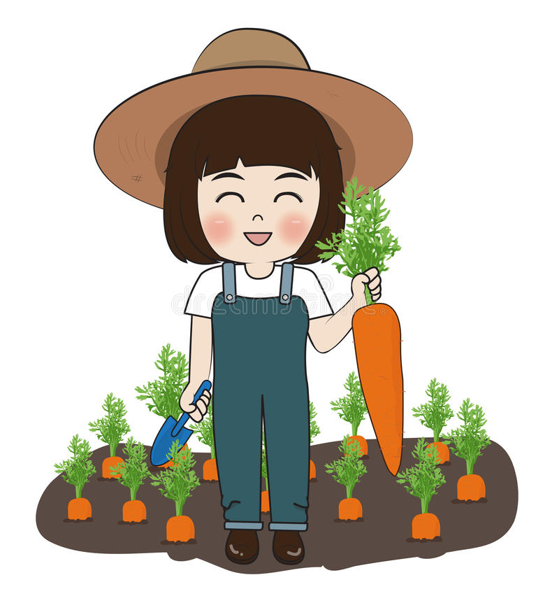 Planter harvest carrots. On white background vector illustration