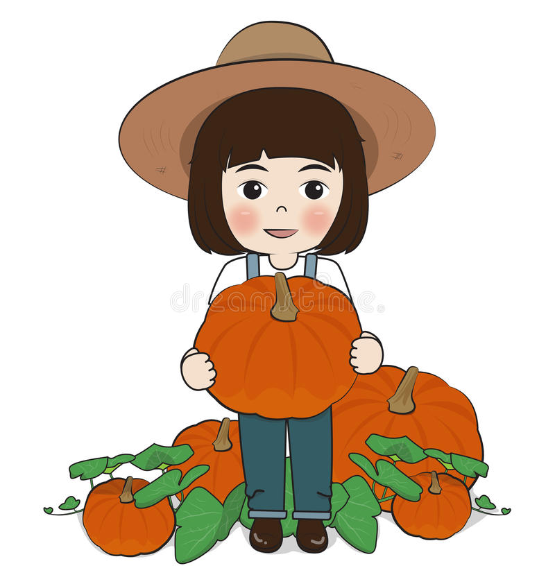 Planter harvest pumpkins. On white background royalty free illustration