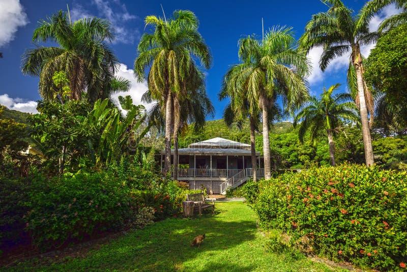 Planter house in botanic garden. Road Town, Tortola stock images