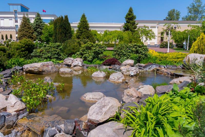 Plantera dekorativa buskar och träd nära en stenig pöl med en kaskadspringbrunn i botaniska trädgården fotografering för bildbyråer