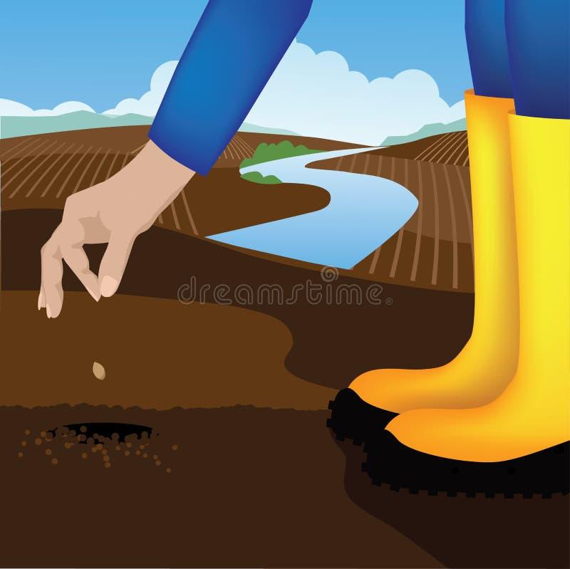 Plantera en kärna ur i en grönsakträdgård vektor illustrationer