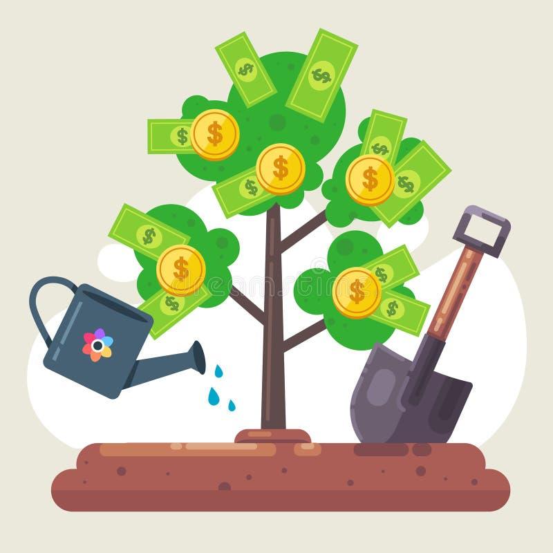 Plantera ett pengarträd med räkningar och mynt bevattna det royaltyfri illustrationer