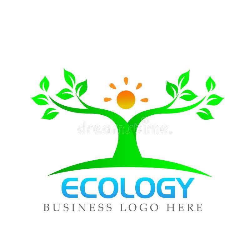 Plantera symbolen för symbolet för ekologi för botanik för bladet för solen för den naturliga logoen för folk den vård- på vit ba royaltyfri illustrationer