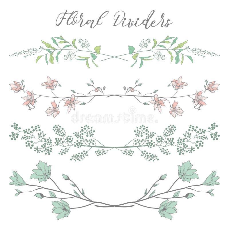 Planterar blommar färgrika avdelare för vektor med filialer, och royaltyfri illustrationer