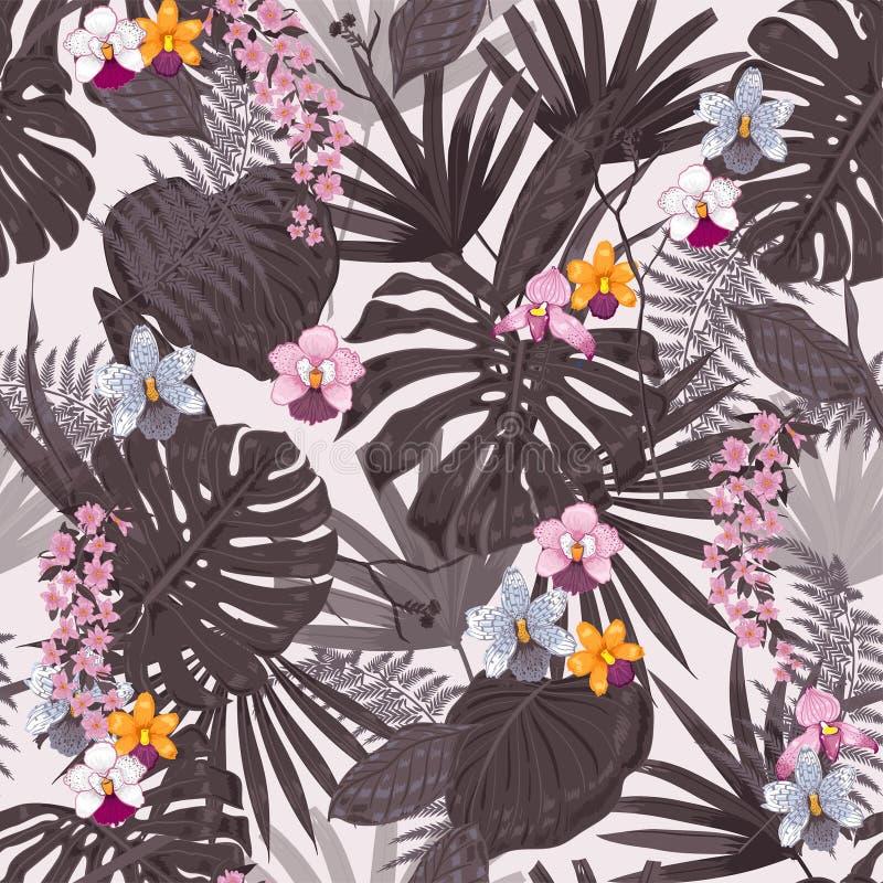 Planterar exotisk tropisk bakgrund för sommar med hawaiibo stock illustrationer